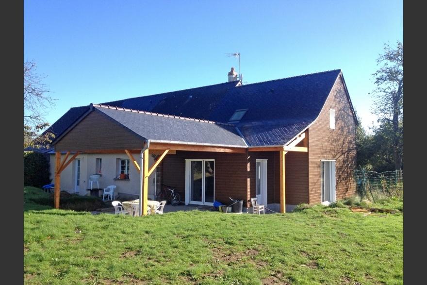 Derouet constructeur de maison bois en mayenne 53 for Extension terrasse couverte